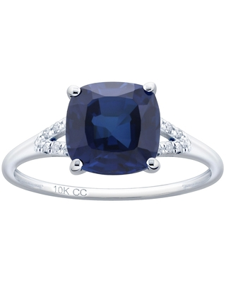10K White Gold 3.27ct TW Sapphire and Diamond Ring - Blue (5.5)