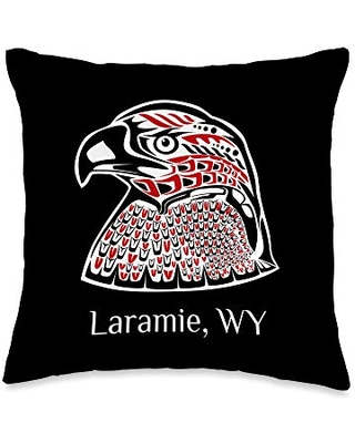 Native American Indian Wyoming Eagle Totem Pacific NW Native American Indian Eagle Laramie Wyoming Throw Pillow, 16x16, Multicolor