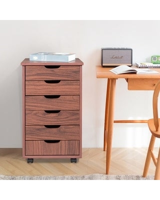 6-Drawer Wood File Cabinet Mobile Storage Cabinet for Closet