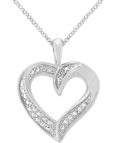 Diamond Accent Heart Pendant in Gold Plated Brass (IJ-I2-I3), Women's, Silver