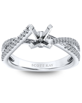 Scott Kay Diamond Ring Setting 1/4 ct tw Round 14K White Gold