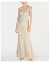 Adrianna Papell Embellished Illusion Gown - Biscotti
