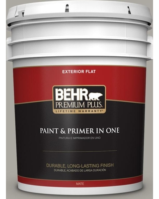 BEHR PREMIUM PLUS 5 gal. #PPU24-10 Downtown Gray Flat Exterior Paint and Primer in One