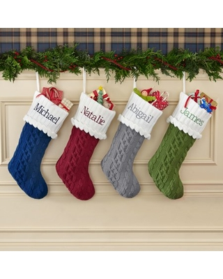 Personalized Cozy Cable Knit Personalized Christmas Stocking-Gray-Available in 5 Colors