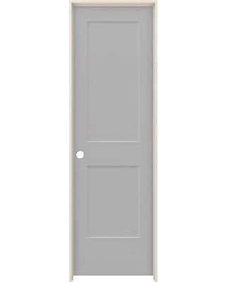 JELD-WEN 24 in. x 80 in. Monroe Driftwood Painted Right-Hand Smooth Solid Core Molded Composite MDF Single Prehung Interior Door, Brown