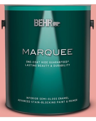 BEHR MARQUEE 1 gal. #160B-4 Modestly Peach Semi-Gloss Enamel Interior Paint and Primer in One