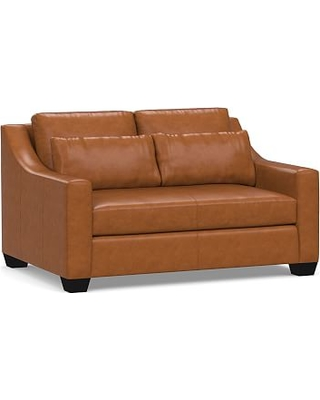 """York Deep Seat Slope Arm Leather Loveseat 60"""" with Bench Cushion, Polyester Wrapped Cushions, Signature Maple"""