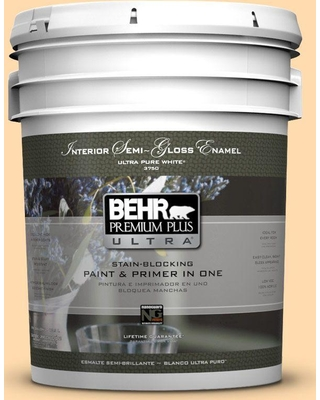 BEHR ULTRA 5 gal. #P240-2 Peach Glow Semi-Gloss Enamel Interior Paint and Primer in One
