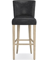 Trevor Bar Stool, Grey, Italian Distressed Leather, Wolf