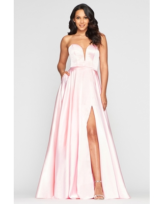 Faviana - S10428 Illusion Plunging Sweetheart Neck Satin Gown