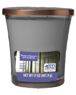 Better Homes & Garden Smoky Gray Mist 17oz 2 Wick Candle, Gray