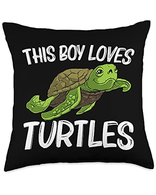 Best Tortoise Reptile & Bony Shell Species Designs Funny Gift for Boys Kids Sea Turtle Land Water Animal Throw Pillow, 18x18, Multicolor