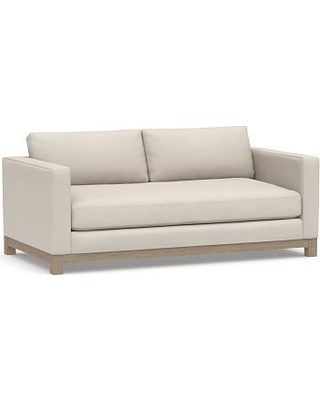 """Jake Upholstered Loveseat 70"""" with Wood Legs, Polyester Wrapped Cushions, Performance Twill Stone"""