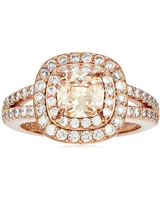 14k Rose Gold Plated Sterling Silver Champagne Cubic Zirconia Cushion Cut 6mm Double Halo Ring, Size 7