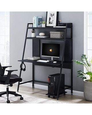 47 inch Gaming Desk with Hutch (Black)