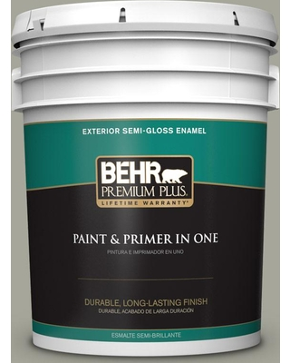 BEHR Premium Plus 5 gal. #N370-4A Historical Gray Semi-Gloss Enamel Exterior Paint and Primer in One