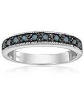 1/4 cttw Blue Diamond Ring .925 Sterling Silver with Milgrain and Black Rhodium