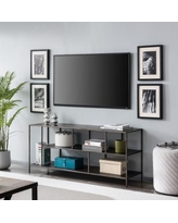 """""""Winthrop 55"""" Aged Steel TV Stand with Metal Shelves - Hudson & Canal TV0589"""""""