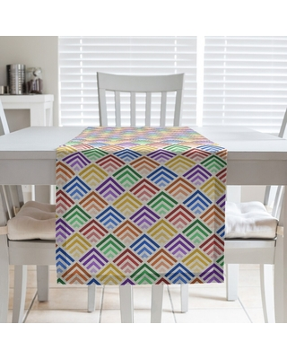 Multicolor Geometric Ombre Pattern Table Runner