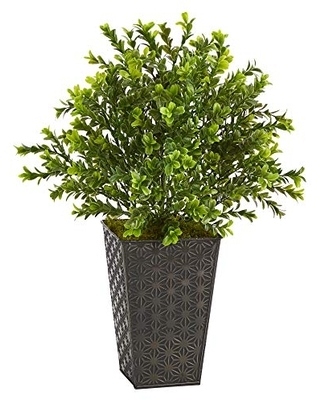 Nearly Natural 19in. Sweet Grass Artificial Plant in Embossed Black Planter (Indoor/Outdoor) , Green