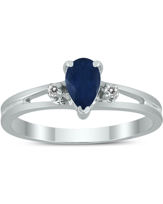 6X4MM Sapphire and Diamond Pear Shaped Open Three Stone Ring in 10K White Gold (5)