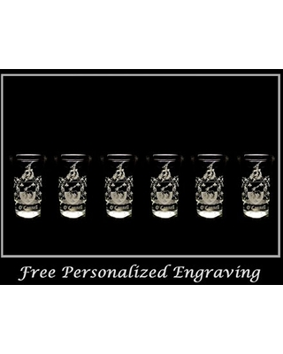 O'Connell Irish Family Coat of Arms Shot Glass 2oz Set of 6 - Free Personalized Engraving