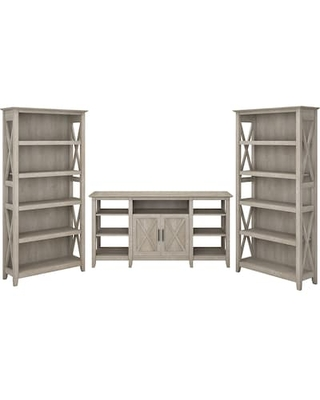 Bush Furniture Key West TV Stand Bundle, Washed Gray, Screens up to 70 (KWS027WG), Grey | Quill
