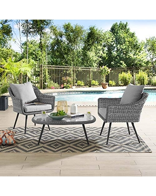 Modway EEI-3179-GRY-GRY-SET Endeavor Outdoor Patio Wicker Rattan Sectional Sofa Set, 3 Piece, Gray Gray