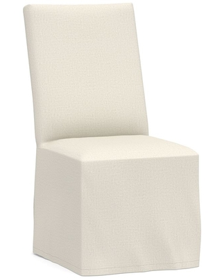 PB Comfort Square Long Slipcovered Dining Side Chair, Performance Heathered Tweed Ivory