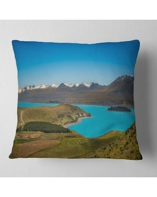 Shop Designart Fantastic Calm Landscape Of New Zealand Landscape Printed Throw Pillow Square 16 In X 16 In Small
