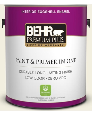 BEHR Premium Plus 1 gal. #GR-W01 White Wool Eggshell Enamel Low Odor Interior Paint and Primer in One