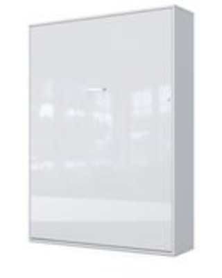 CONTEMPO Vertical Murphy bed with mattress 55.1 x 78.7 inch (White/White Gloss Front)