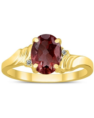 8X6MM Garnet and Diamond Wave Ring in 10K Yellow Gold (8)