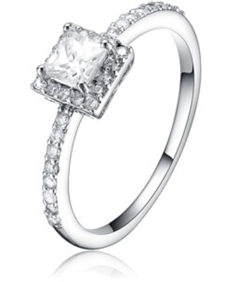 Collette Z Sterling Silver Cubic Zirconia Square Ring - White (8)