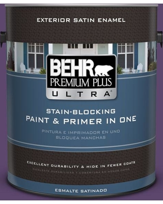 BEHR Premium Plus Ultra 1 gal. #S-G-660 Wild Grapes Satin Enamel Exterior Paint and Primer in One
