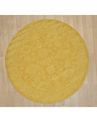 EORC IE85YL6X6R Hand-Tufted Wool Overdyed Rug, 6' Round, Yellow