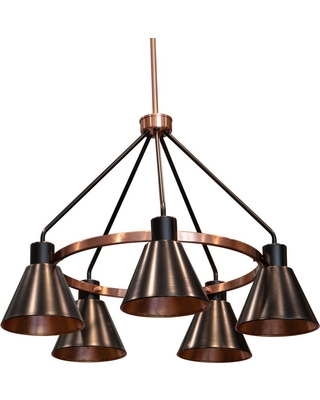 Decor Therapy Carly 5-Light Antique Brass and Black Iron Metal Chandelier