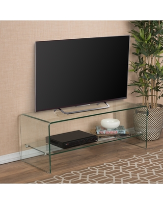 Ramona Glass Entertainment TV Console Stand with Shelf by Christopher Knight Home (Transparent)