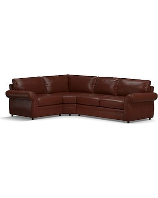Pearce Leather Right Arm 3-Piece Wedge Sectional, Down Blend Wrapped Cushions, Leather Signature Whiskey