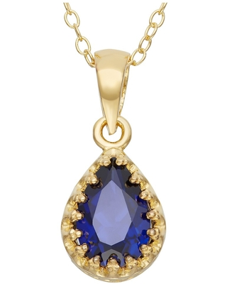 Pear-Cut Sapphire Crown Pendant in Gold Over Silver
