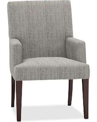PB Comfort Square Upholstered Dining Arm Chair, Sunbrella(R) Performance Sahara Weave Charcoal