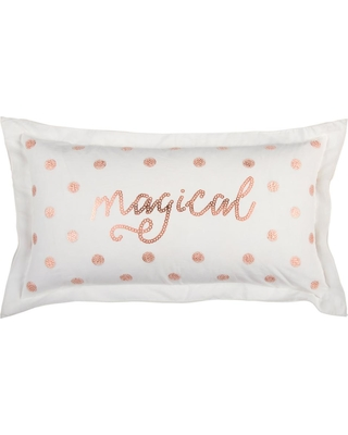 Christmas Magical 14 in. x 26 in. Decorative Filled Pillow, White And Rose Gold