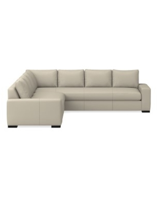 Robertson Sectional, Left 2-Piece L-Shape Sofa, Down Cushion, Italian Distressed Leather, Ivory