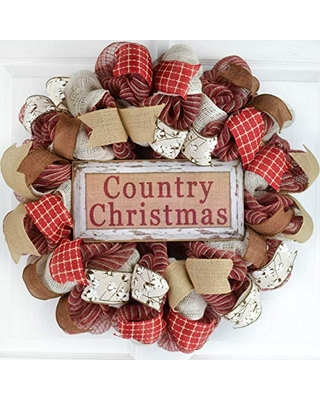 Amazing Deals On Clearance Farmhouse Burlap Country Christmas Wreath Winter Mesh Front Door Wreath White Red Beige Jute Maroon