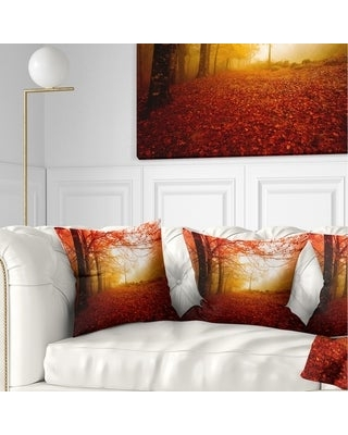 Designart 'Yellow Sun Rays in Red Forest' Landscape Photography Throw Pillow (Square - 16 in. x 16 in. - Small)