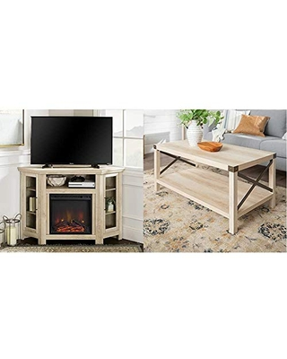 """Walker Edison Furniture Company Tall Wood Corner Fireplace Stand for TV's up to 55"""", 48 Inch & Rustic Modern Farmhouse Metal and Wood Rectangle Accent Coffee Table Living Room Ottoman Storage Shelf"""