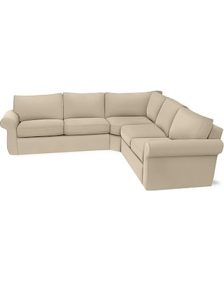 Pearce Roll Arm Slipcovered 3-Piece L-Shaped Wedge Sectional, Down Blend Wrapped Cushions, Performance Everydayvelvet(TM) Buckwheat