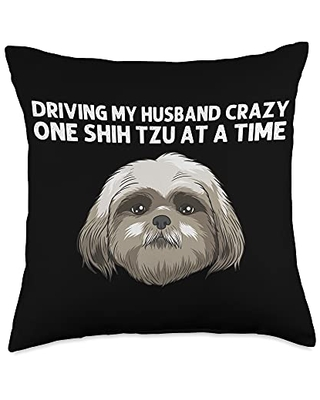 Best Pup Breed & Little Lion Fur Floppy Presents Funny Shih Tzu Gift For Women Mama Dog Puppy Owner Animal Throw Pillow, 18x18, Multicolor