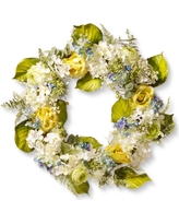 Artificial Spring Flowers Wreath Blue&Yellow 30 - National Tree Company, Yellow
