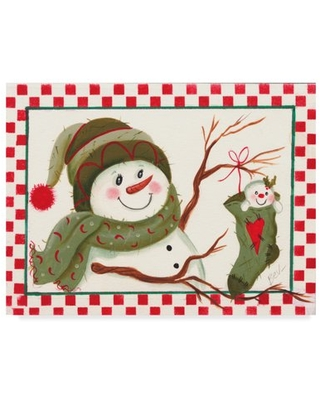 Trademark Fine Art 'Snowman With Stocking' Canvas Art by Beverly Johnston